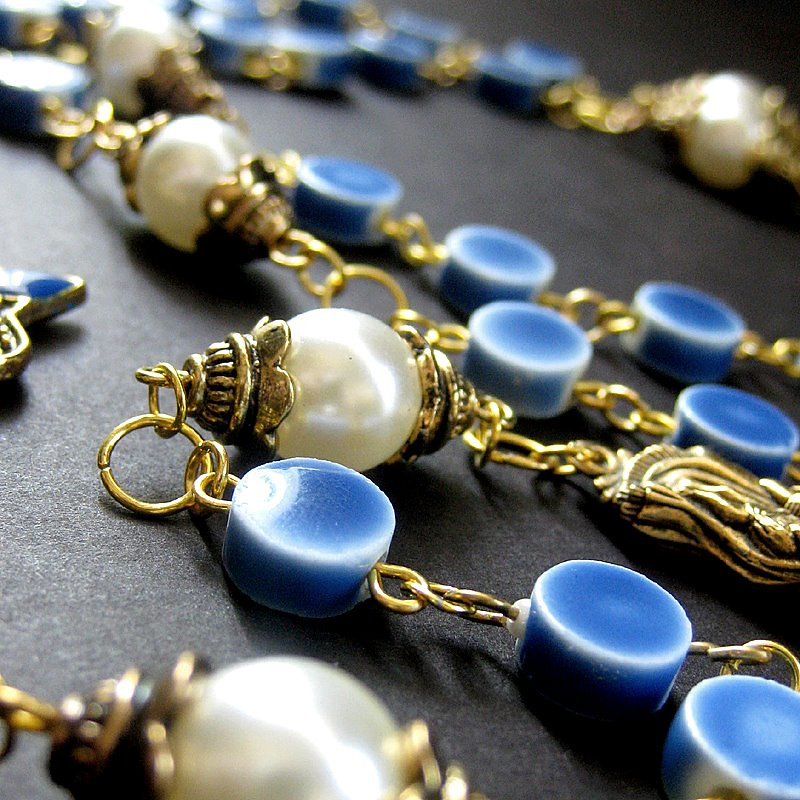 Holy Rosary in Gold, Pearls and Blue Ceramic