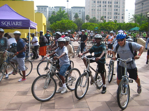 Kids on bicycles at the 2010 Pershing Square Discovery Ride.
