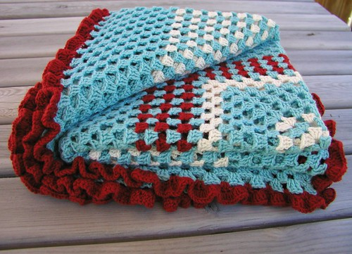 Crochet Ruffle Blanket Throw