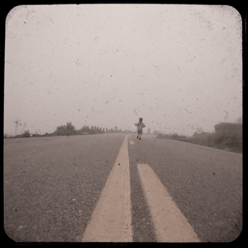 Lucas on the oceanside highway, TtV (with a side of fog!)