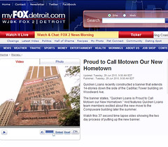 Proud to Call Motown Our Hometown - Quicken Loans Billboard featured on Detroit Fox TV