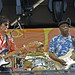 Ron Wood and Buddy Guy rehearsing for Eric Clapton's Crossroads Guitar Festival at Toyota Park on June 25, 2010 in Bridgeview, Illinois