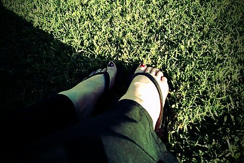 Flip flops in the grass