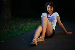 (Ablipihin) Tags: summer portrait sexy feet girl beauty smile shirt lady dark evening colorful view joy young tan lifestyle style soul heat dreamy shorts brunette alpha olga russian beautifuleyes facebook whiteshirt relevant whitesandals russiangirl redbeads tempts youngbody sonya300