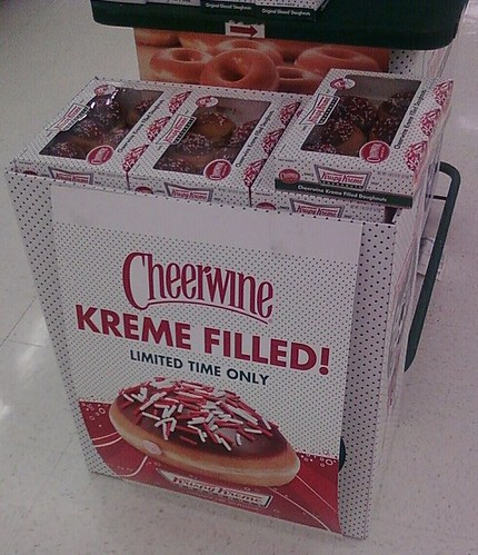 In-store display of Cheerwine kreme-filled doughnuts
