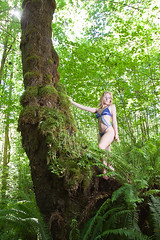 Down on the farm with Speakeasy Lingerie and Modeling (OregonVelo) Tags: blue trees woman water female woods mask lingerie ferns cassandrarenee speakeasylingerie speakeasymodeling keithweldon