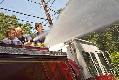 fire engine hosing off