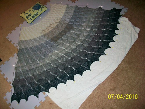 Chinook Shawl, during blocking