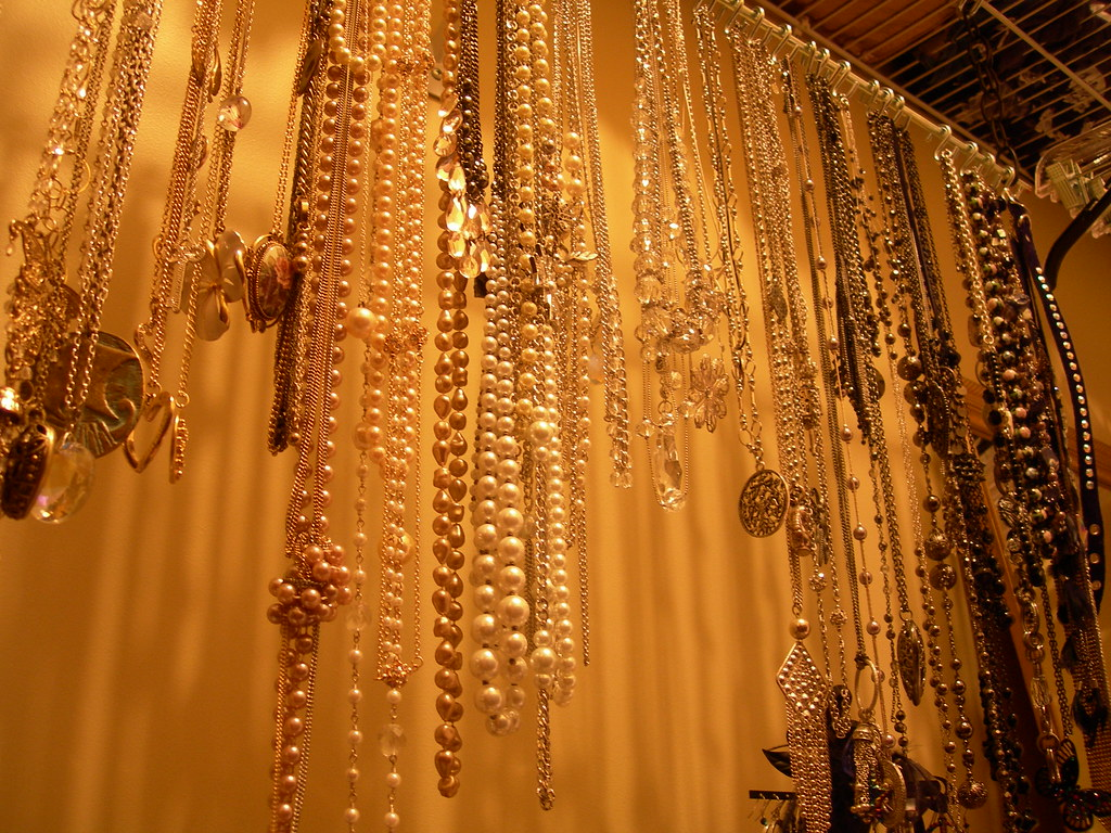 Summer bedroom 2010: necklaces in closet, during reorganization