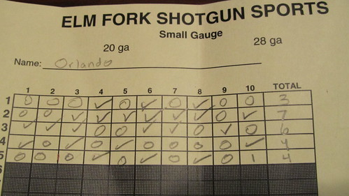 My scorecard for sporting clays