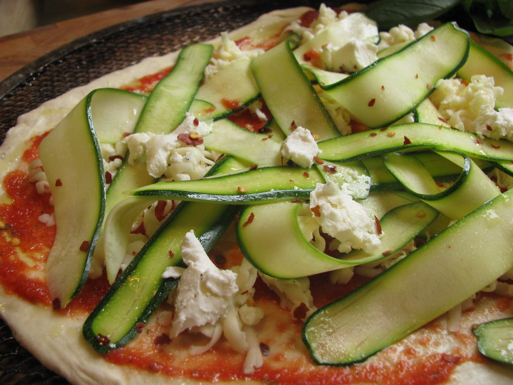 pizza: shaved zucchini, goat cheese & basil