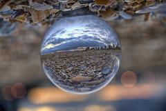 Crystal beach ball (J-C-M) Tags: sunset shells beach photoshop ball nikon crystal refraction d200 hdr topaz crystalball photomatix albertparkbeach