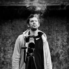 Bad boy photographer (monsieur ours) Tags: portrait bw photographer cigarette smoke nb photographe fumée