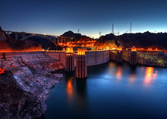 Hoover Dam at Twilight (Dave Toussaint (www.photographersnature.com)) Tags: longexposure travel bridge vacation arizona usa lake nature water night canon river landscape concrete photo twilight colorful arch photographer venus dam nevada picture arches clear powerlines hooverdam lakemead coloradoriver 2009 hdr spillway stateline bouldercity photomatix 40d mywinners platinumphoto hooverdambypass mikeocallaghanpattillmanmemorialbridge photographersnaturecom davetoussaint