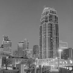 Minneapolis By Night (Thomas Bertilsson (monolight)) Tags: city skyline night landscape noiretblanc kodak minneapolis scan hasselblad epson planar xtol tmx kodaktmax100 v700 replenished