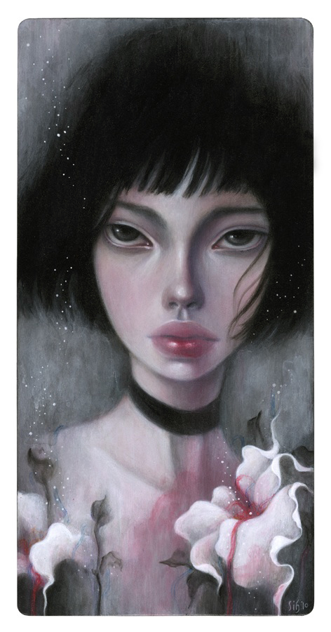 "Mathilda. 6""x12"". Mixed Media on Wood. © 2010."