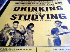 Drinking vs Studying (joyjwaller) Tags: people yellow japan menu words fight osaka dork meathead showdown toocool sluts troublebrewing osakastyle ihadatunasandwhichandtworumcocktailsforbreakfast