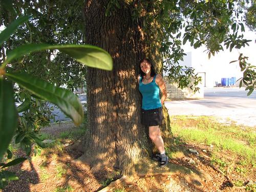 Becky under a shady tree