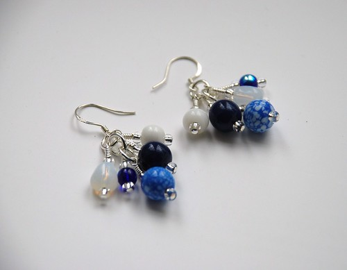 """Vintage blue"" earrings"