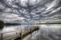 Rain in Ten Minutes (Kerstin Hellstrom) Tags: bridge cloud clouds dock bro hdr brygga moln canon500d photomatix