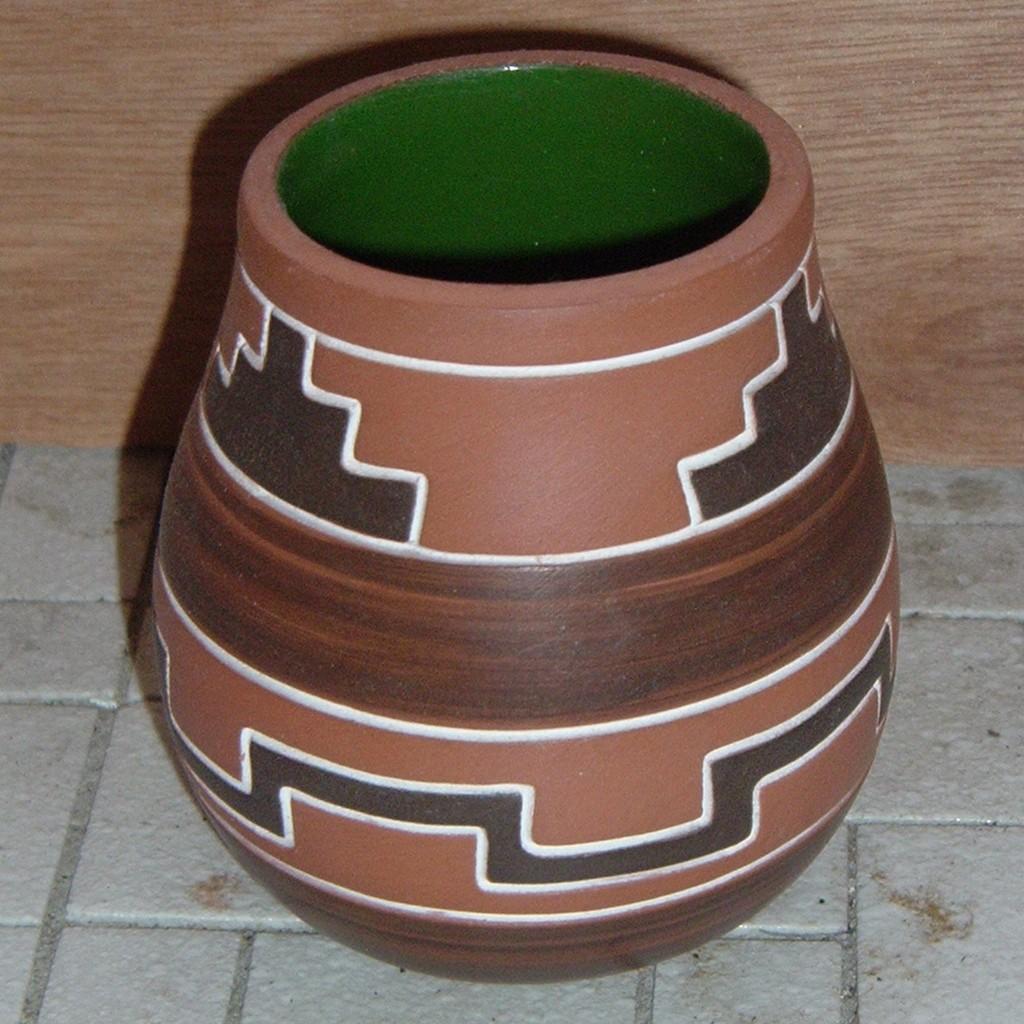 Vase - clay Mexican motif