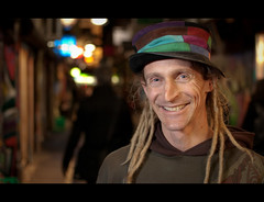 Matt. 58-100 (Andy. H) Tags: portrait smile hat dreadlocks night 35mm matt haze bokeh melbourne stranger laneway explored 100strangers