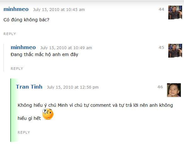 Dùng danh nghĩa Minh Mèo comment trên EblogViet