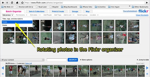 Rotating photos in the Flickr organizer