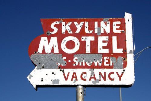 skyline motel neon sign