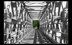 Bridge over troubled water (Explore) (Bert Kaufmann) Tags: bridge holland netherlands canal blackwhite iron zwartwit nederland explore pont brug brcke paysbas twente olanda niederlande selectivecolor zutphen gelderland selectivecolour staal twentekanaal almen explored stalenbrug selectievekleur