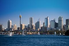 Port Jackson, Sydney (8) (Howard.) Tags: blue tower water skyline buildings boats gray sydney 2010