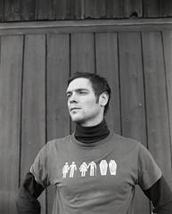 The life and death of a long distance runner (Magnus Bergström) Tags: portrait bw man 120 mamiya film shirt kodak sweden tmax 400 pro threadless expired kodaktmax400 tmy rz67 värmland ekshärad nikber00
