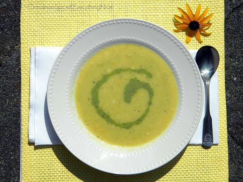 White Corn Soup with Poblano Cream