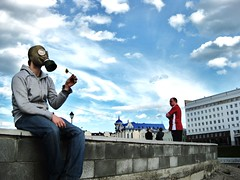 Enjoy nature as you always did. (Solokom) Tags: flower mood russia apocalypse pollution smell romantic environment gasmask everydaylife inlove sibiria tomsk