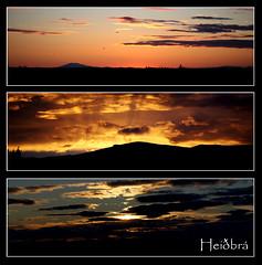 Sólarlag x3 (Heiðbrá) Tags: sunset red sky orange cloud black yellow clouds canon triptych rautt ský appelsínugulur sólsetur rauður 1000d heiðbrá