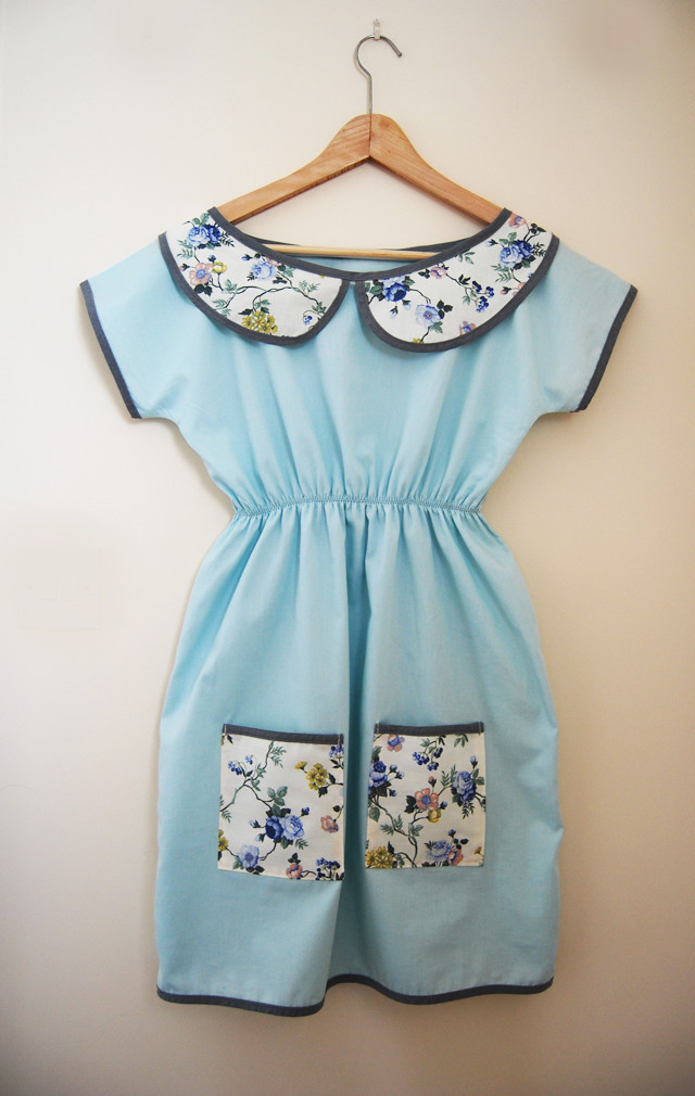 english rose egg blue dress with peter pan collar