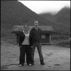 Pernille & Marcus (Son of Lumiere) Tags: bw film fog cabin analogue tke hytte vesterlen hasselblad500c ilforddelta100pro autaut nikoncoolscan9000ed zeisplanar80mmf28t andyfriluftssenter