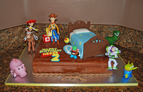 Boys bedroom scene cake with customer added Toy Story figurines