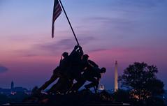 The United States Marine Corps Memorial (Iwo Jima Memorial) (~Champagne Supernova~) Tags: statue usmc skyline sunrise dawn washingtondc nikon memorial war unitedstates flag worldwarii dslr washingtonmonument marinecorps capitolbuilding d90 nikondslr 18200mmvrii nikond90 battleofiwojima arllingtonnationalcemetary