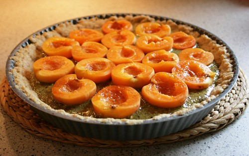 apricot tarte with pistachio filling