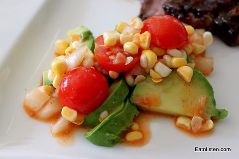 Bacon Hot Sauce Tomato Corn Relish @ Eatnlisten.com