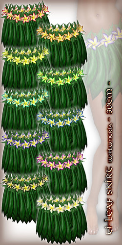 Hula Ti-Leaf Skirt (w/Plumeria) - 30cm - All Colors