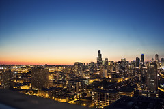 My view of Chicago (Julio Barros) Tags: city sunset chicago canon hyatt xsi mccormick skycrapper
