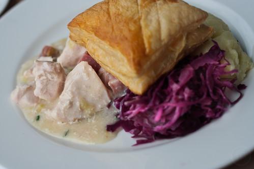 Chicken, Leek and Wiltshire Ham Pie with Wholegrain Mustard Mash and Braised Red Cabbage