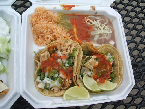 Tacos, beans and rice