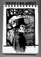 (>>> Super bwana) Tags: portrait bw white black tree blanco hat noir retrato branches negro 19thcentury sketchbook bn tophat chapeau rbol sombrero bloc arbre blanc negre retrat ramas branques barret sigloxix chistera tpicos seglexix amargao siclexix blocadessin