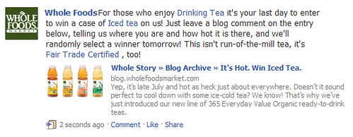Actualización de estado de Iced Tea en Facebook de Whole Foods.