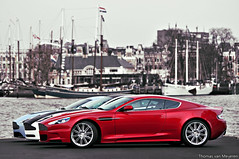 Aston Martin DBS, Vanquish S and V12 Vantage (Thomas van Meijeren) Tags: blue red england 6 white black color cars sports beauty car sport night speed photoshop james three photo rotterdam nikon blauw foto power shot martin interior wheels fast wrap quicksilver racing mat v soul bond british db4 12 expensive panning 2008 rood zwart wit loud rare infra 2009 coupe v8 vr aston matte v10 exhaust sportscar liter volante 2007 litre 2010 combo roadster mako v12 db9 alcantara db5 telelens dbr9 matzwart autogespot dbr9s amv12