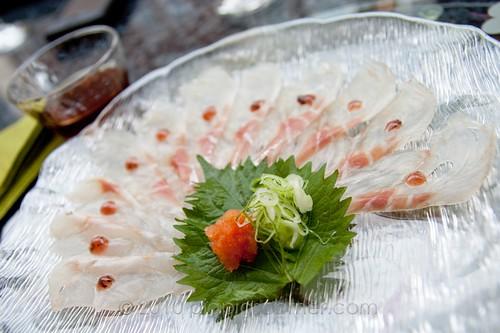 Sushi of Shiori seabass with ponzu