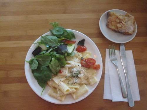 Rogatoni alfredo, salad, almond croissant from the bistro - $6